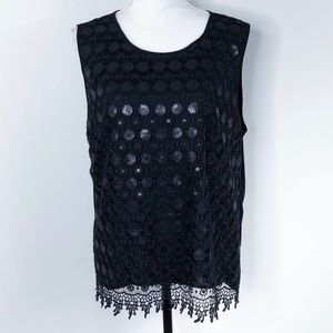 Chaus Lace Sequin Tank Top Sleeveless Lined Black